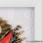 18 cm x 20 cm Beyaz Sarı Renk Osmanlı Tuğrası İç Çerçevesi
