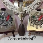 19 cm x 24 cm Aynalı Ayaklı Osmanlı Tuğraları