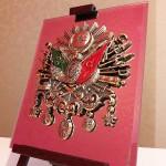 19 cm x 24 cm Aynalı Ayaklı Osmanlı Tuğra ve Arması