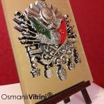 19 cm x 24 cm Aynalı Ayaklı Gümüş Renk Osmanlı Tuğrası