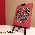 19 cm x 24 cm Aynalı Ayaklı Gümüş Renk Osmanlı Tuğra
