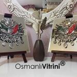 19 cm x 24 cm Aynalı Ayaklı Gümüş Renk Osmanlı Armaları