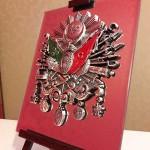 19 cm x 24 cm Aynalı Ayaklı Gümüş ve Altın Renk Osmanlı Armaları