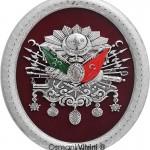 23 cm x 30 cm Oval Gümüş Renk Osmanlı Arması