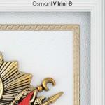 29 cm x 33 cm Beyaz Sarı Renk Osmanlı Tuğrası Çerçevesi