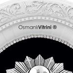 32 cm x 37 cm Oval Beyaz Gümüş Renk Osmanlı Çerçevesi