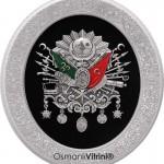 37 cm x 44 cm Oval Gümüş Renk Osmanlı Tuğrası