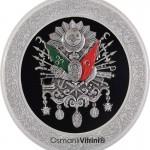 38 cm Çapında Yuvarlak Gümüş Renk Osmanlı Tuğrası