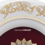 44 cm x 51 cm Oval Beyaz Sarı Renk Osmanlı Tuğrası Çerçevesi