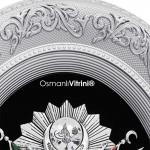 44 cm x 51 cm Oval Gümüş Renk Osmanlı Tuğrası Çerçevesi