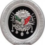 52 cm x 60 cm Oval Gümüş Renk Osmanlı Tuğrası
