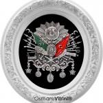 52 cm x 60 cm Oval Beyaz Gümüş Renk Osmanlı Tuğrası