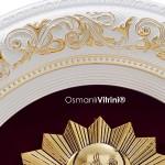 52 cm x 60 cm Oval Beyaz Sarı Renk Osmanlı Çerçevesi