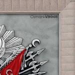 60 cm x 65 cm Beyaz Gümüş Renk Osmanlı Tuğrası İç Çerçevesi