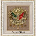 70 cm x 75 cm Beyaz Sarı Renk Osmanlı Tuğrası