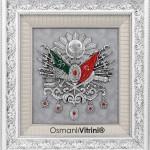 70 cm x 75 cm Beyaz Gümüş Renk Osmanlı Tuğrası