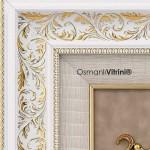 75 cm x 80 cm Taşlı Beyaz Sarı Osmanlı Tuğrası Çerçevesi