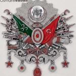 75 cm x 80 cm Taşlı Gümüş Renk Osmanlı Arması
