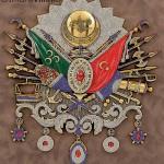 75cmx80cm Taşlı Sarı Renk Osmanlı Arması