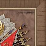 75cmx80cm Taşlı Sarı Renk Osmanlı Tuğrası İç Çerçevesi